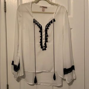 White and black tassel top